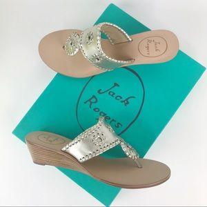 Jack Rogers wedge sandals women's shoes platinum